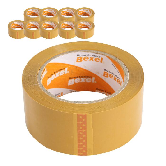 벡셀 황색 박스테이프 80m, 10개 (POP 1734619324)