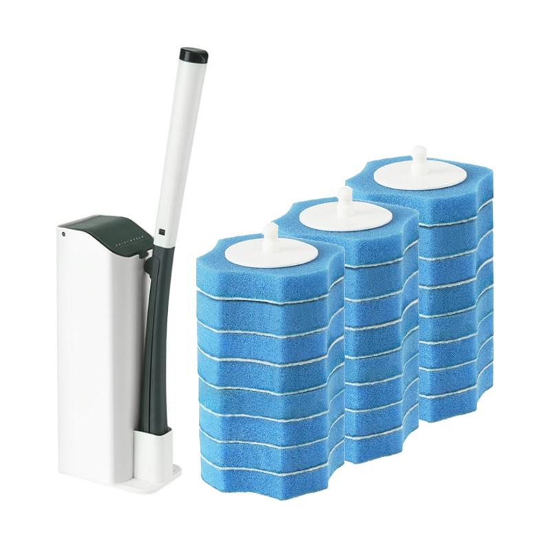 JCC 원터치 일회용 변기 청소솔 + 리필 24p, 카키, 1세트