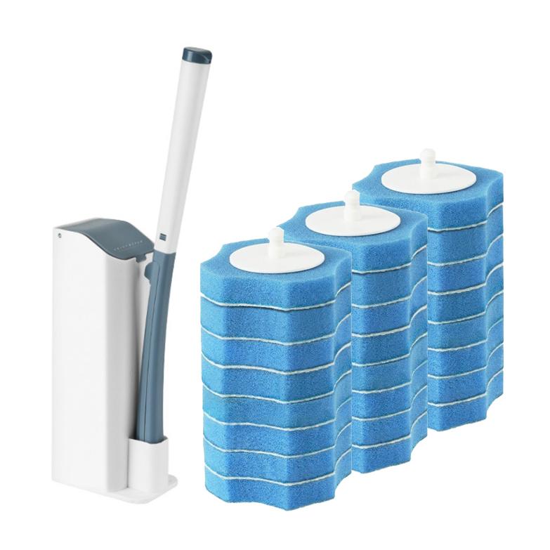JCC 원터치 일회용 변기 청소솔 + 리필 24p, 블루, 1세트