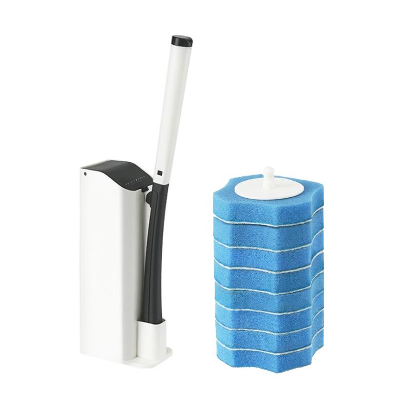 JCC 원터치 일회용 변기 청소솔 + 리필 8p, 블랙, 1세트