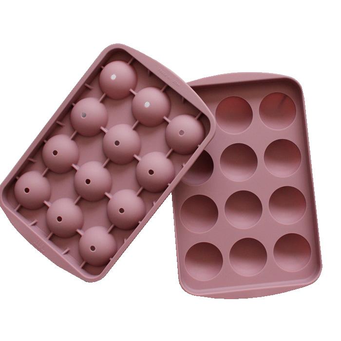파스텔 실리콘 원형 아이스몰드 12구, 핑크 (POP 1735467113)