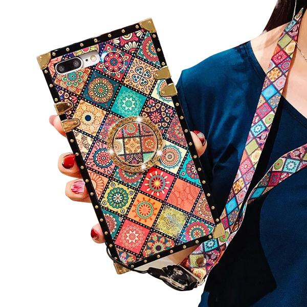 스퀘어 패턴 자개 스마트링 휴대폰 케이스
