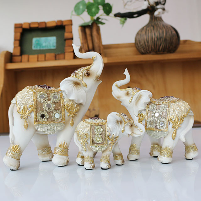 집들이 선물용 플라워 코끼리 장식품 3종 + 상자 세트 ELP_28, 혼합색상
