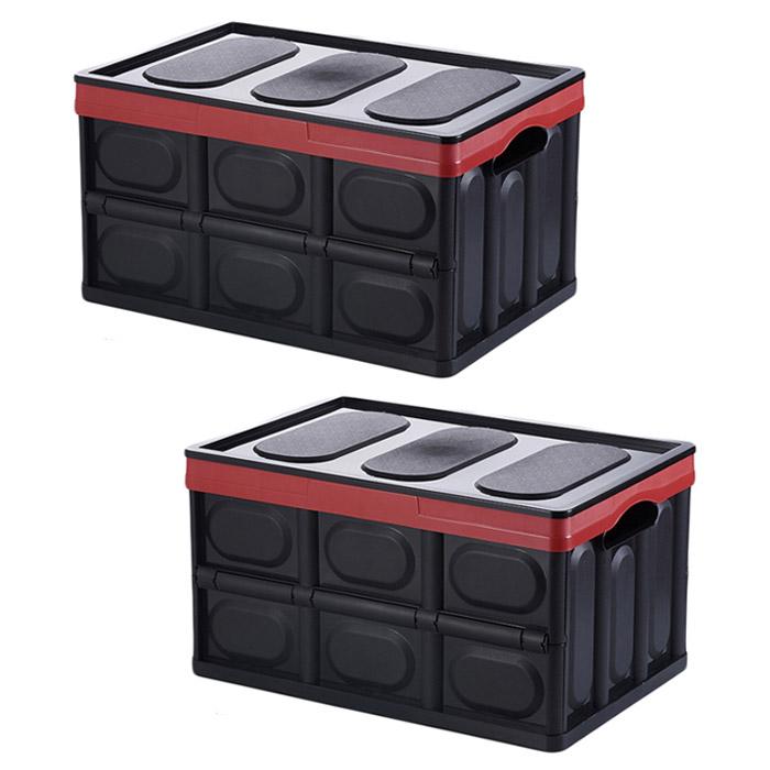 정리정돈 휴대용 공간활용 폴딩박스 S, 블랙, 2개