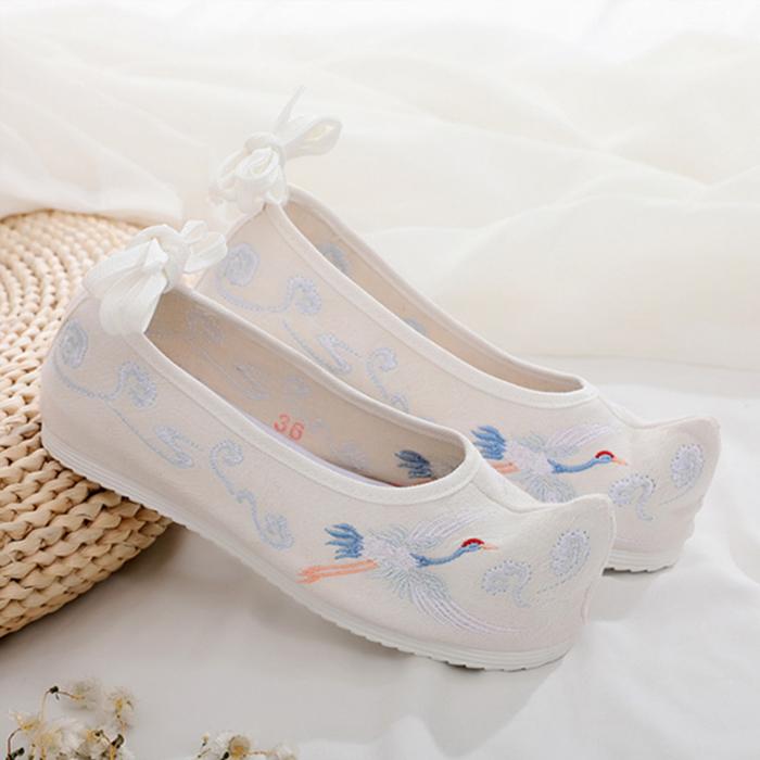 올나인 여성용 발목 스트랩 학 자수 전통 신발