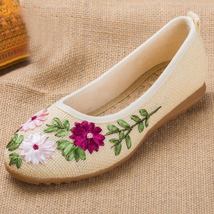올나인 여성용 플라워 자수 한복 전통 신발