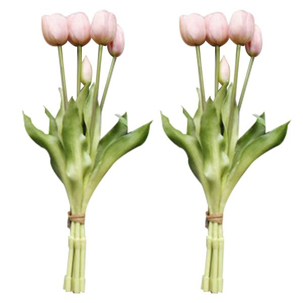 조화 튤립 꽃다발 5p x 2세트, 연핑크