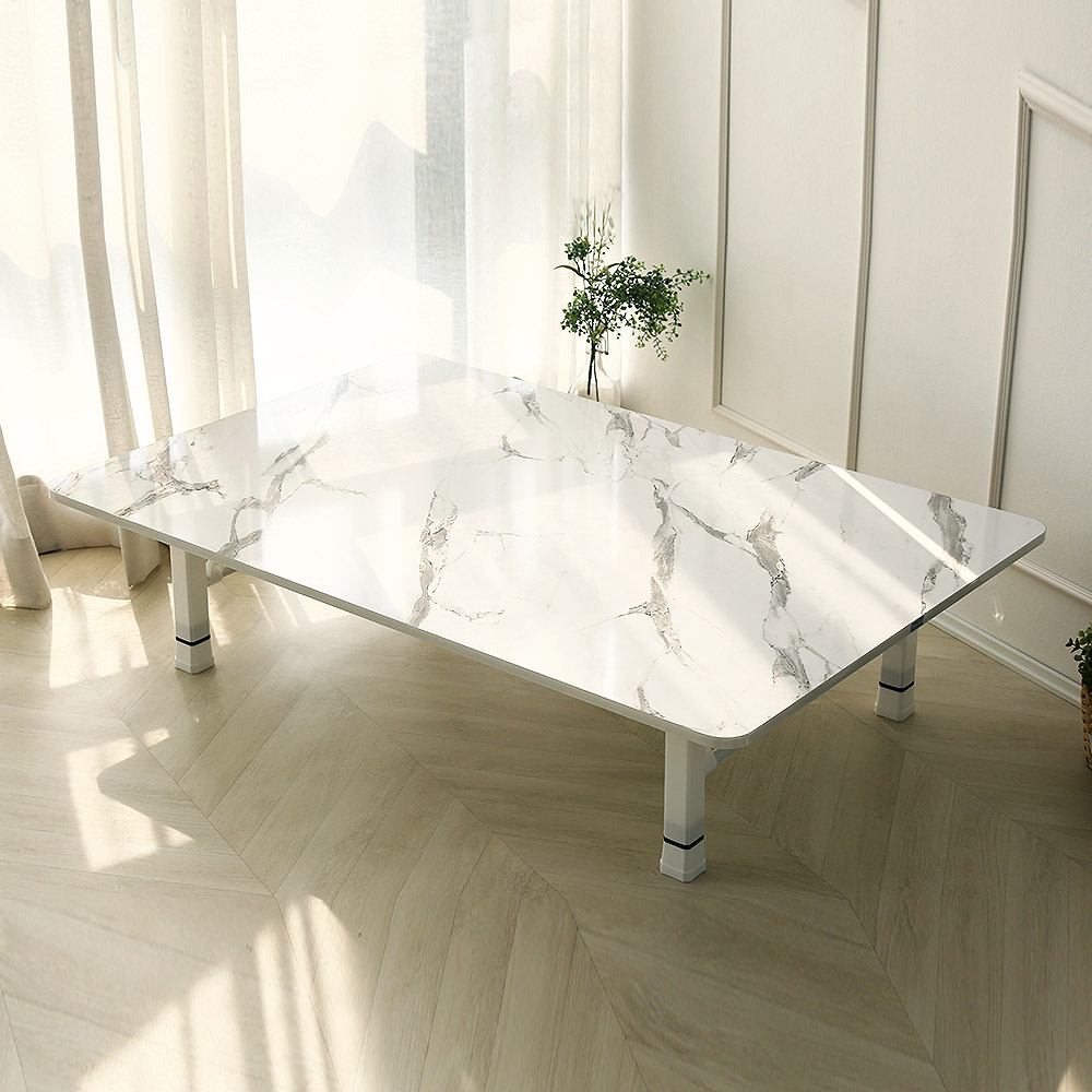 [벨라홈] 벨라홈 LPM 샤르망 5단 높이조절형 라운드 접이식 테이블 대형 1200 x 800 mm, 마블화이트 - 랭킹8위 (63760원)
