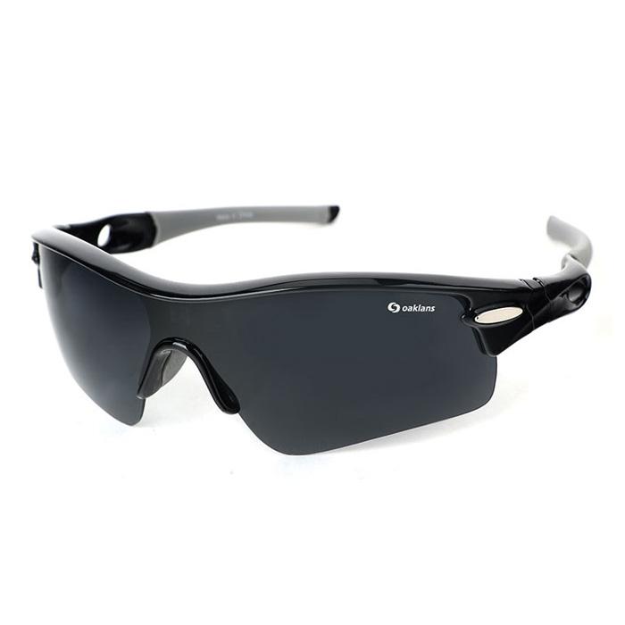 오클랜즈 편광 스포츠 선글라스 Q350, 블랙 프레임 + 스모그 렌즈