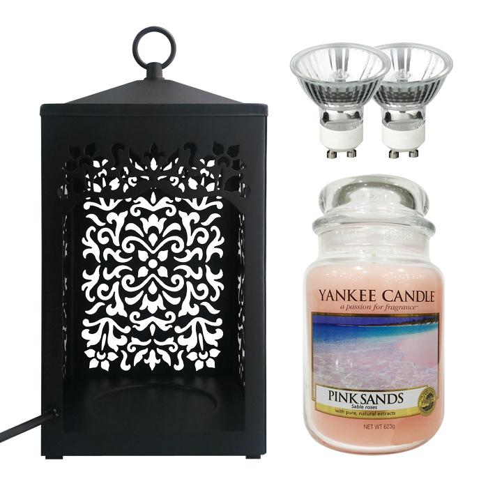 스텔라 빛조절 스크롤 워머 + 전구 2p + 양키 캔들 세트, 캔들(핑크샌즈), 워머(블랙)