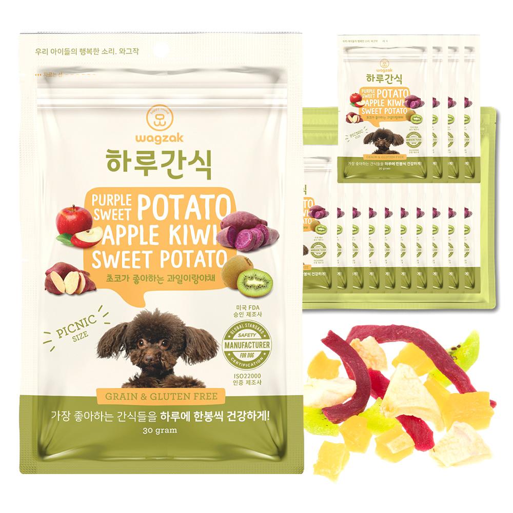 와그작 강아지 하루간식, 자색고구마 + 키위 + 사과 + 고구마 혼합맛, 14개입