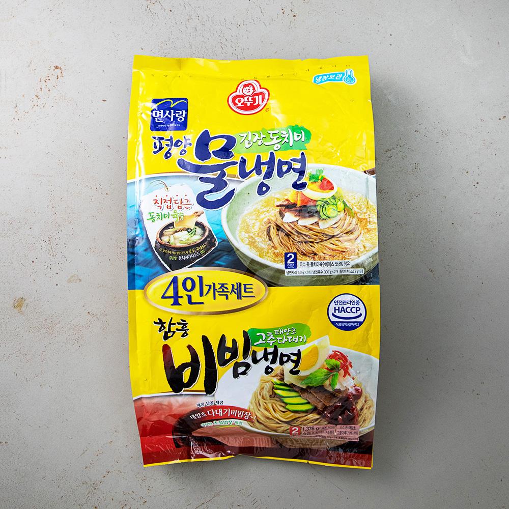 오뚜기 평양물냉면 함흥비빔냉면 4인 가족세트, 1376g, 1개
