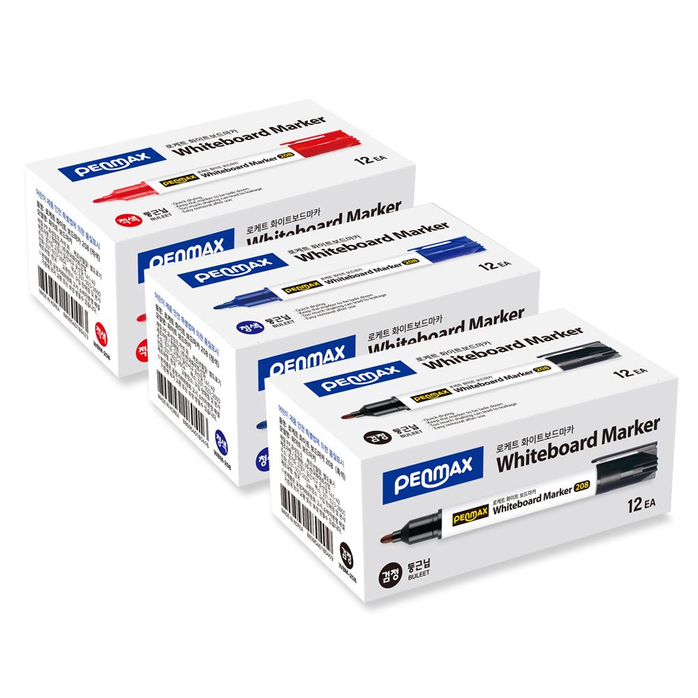 펜맥스 로케트 화이트 보드 마카 12p, 흑색, 청색, 적색, 3개
