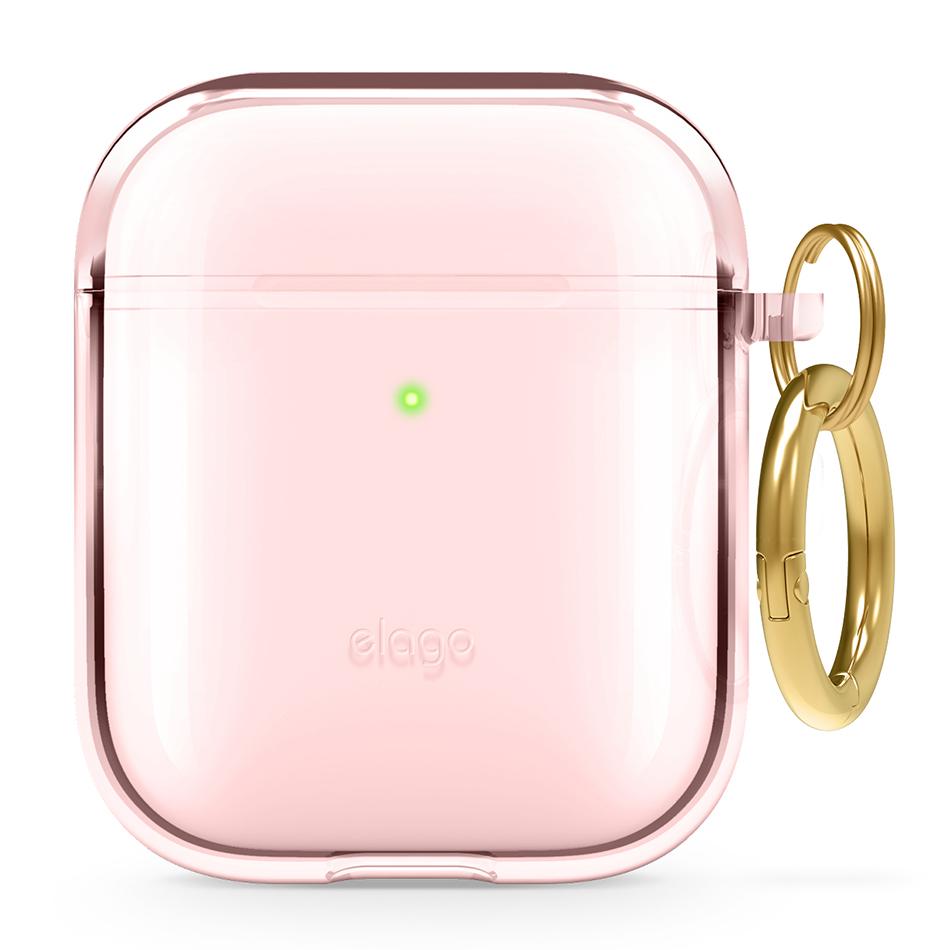 엘라고 클리어 행 젤리 에어팟 1 / 2세대 이어폰 케이스 + 키링, 단일상품, 러블리 핑크