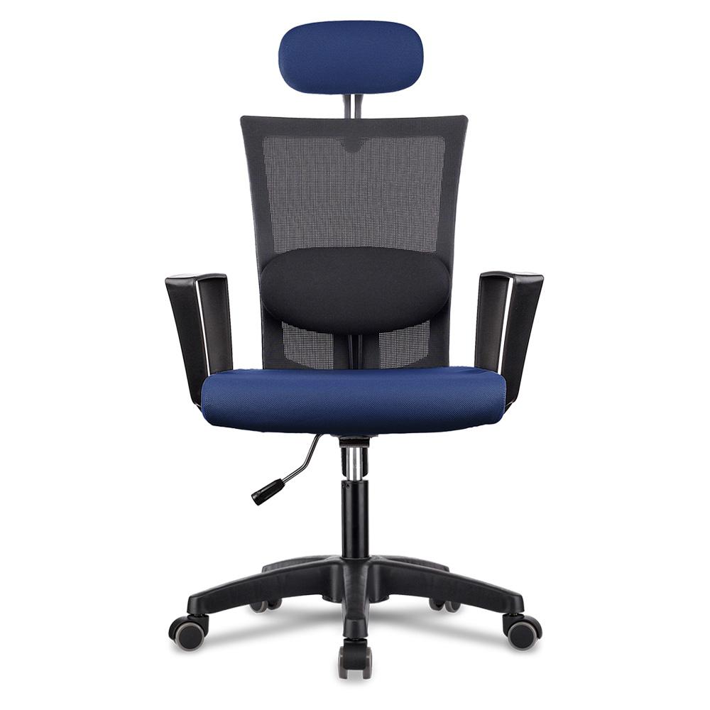 체어스코 네이처 컴퓨터 책상의자 라텍스 + 허리받침 세트, 블랙바디 + 네이비