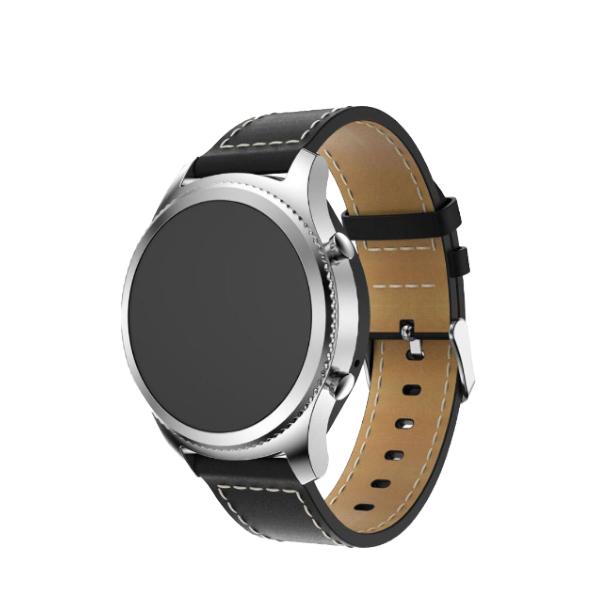 인뮤즈 갤럭시 프론티어/기어S3/워치3 22mm 가죽 스트랩 시계줄 (45/46mm 호환 가능), 블랙, 1개