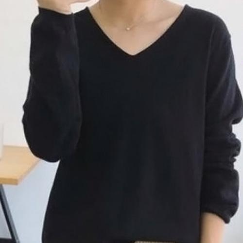 공블리 여성용 V넥 베이직 니트