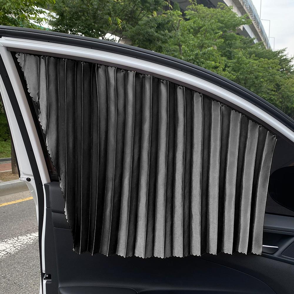 삼에스 차량용 슬라이드 커튼 앞좌석 좌 + 우 + 양면테이프 세트, 블랙, 1세트