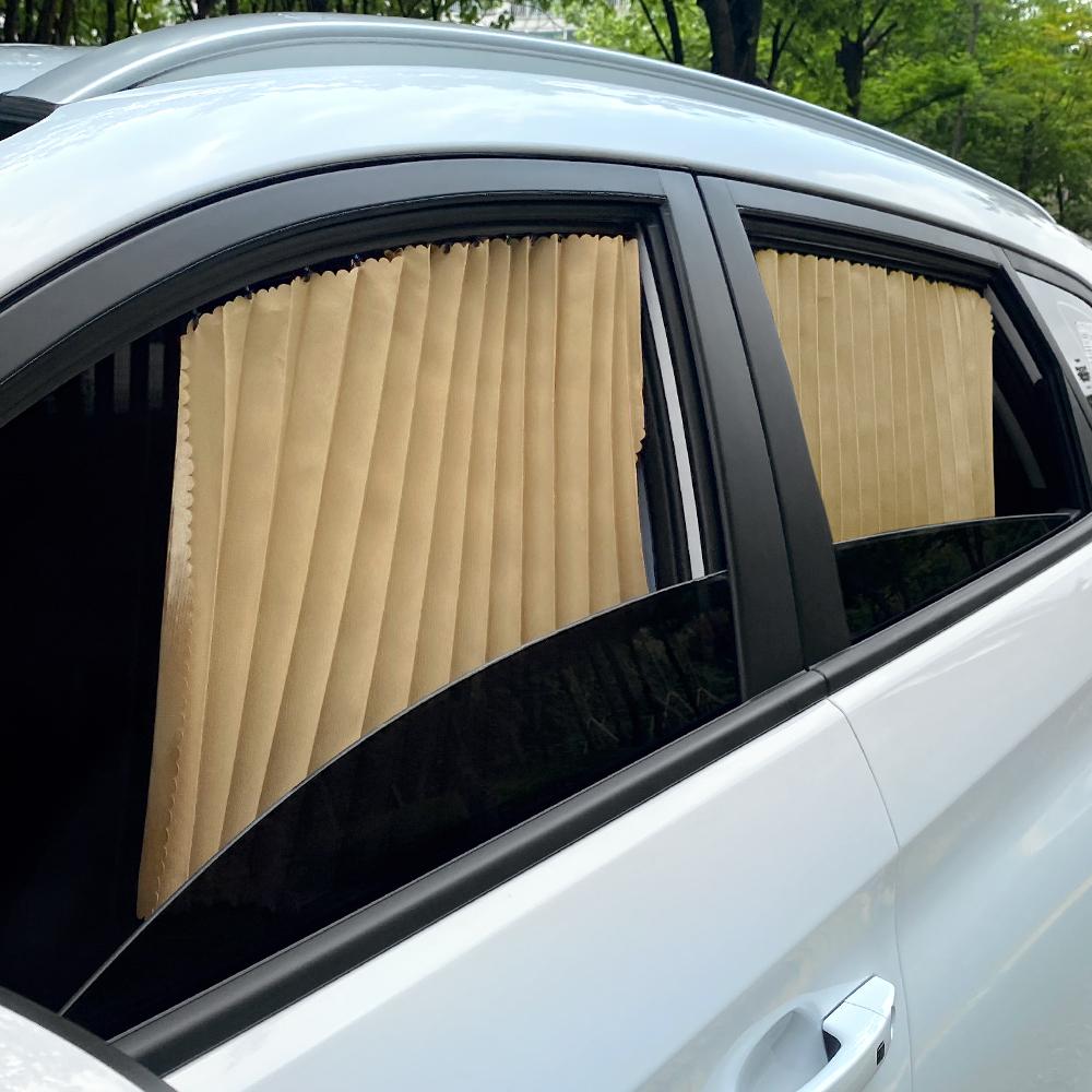삼에스 차량용 슬라이드 커튼 앞좌석 + 뒷좌석 + 양면테이프 풀세트, 골드, 1세트