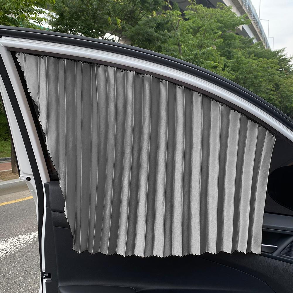 삼에스 차량용 슬라이드 커튼 앞좌석 좌 + 우 + 양면테이프 세트, 실버, 1세트