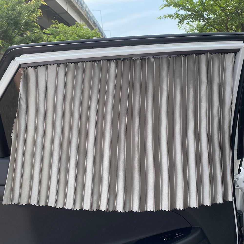 삼에스 차량용 슬라이드 커튼 뒷좌석 좌 + 우 + 양면테이프 세트, 실버, 1세트