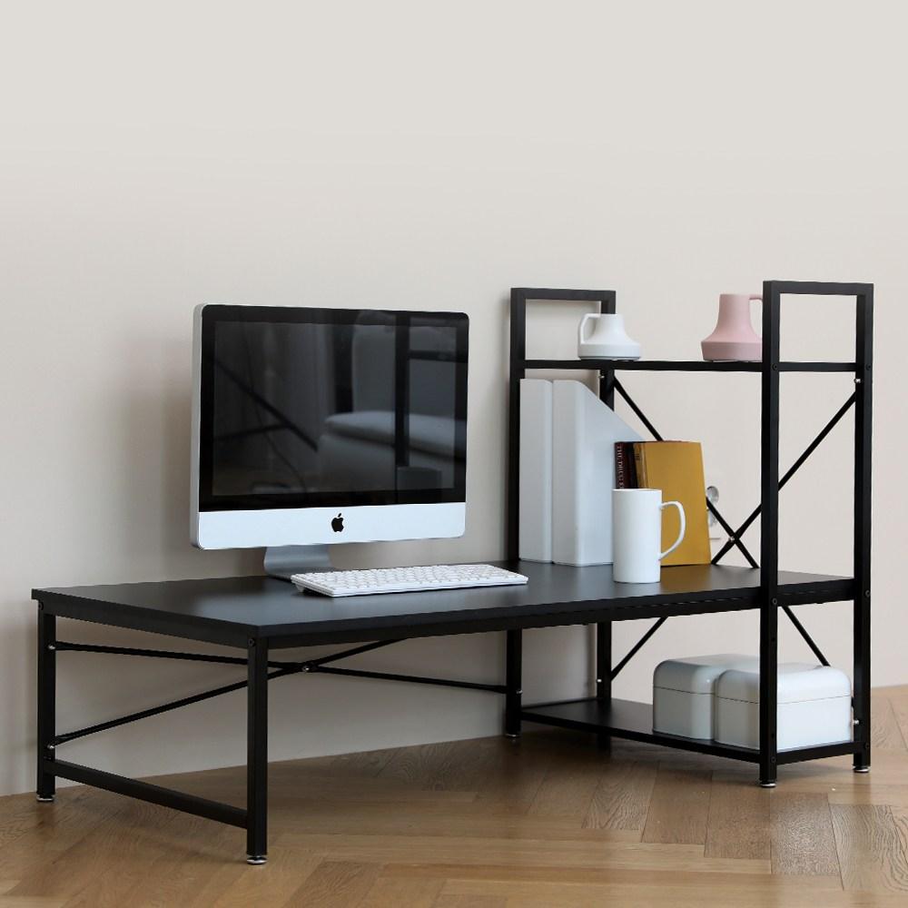 블루밍홈 심플 H형 좌식책상 120 x 60 cm, 블랙