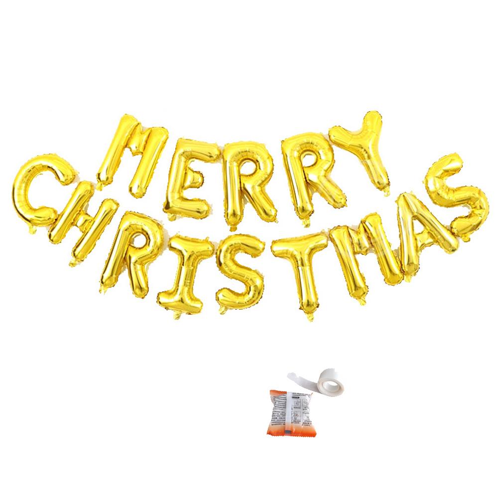 메리크리스마스 메세지 은박 풍선 + 글루닷 세트, 골드, 1세트