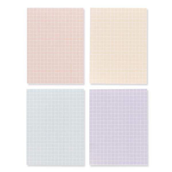 왈가닥스 스무디 메모지 4종 세트, Grid Peach, Grid Sand, Grid Mint, Grid Lilac, 1세트