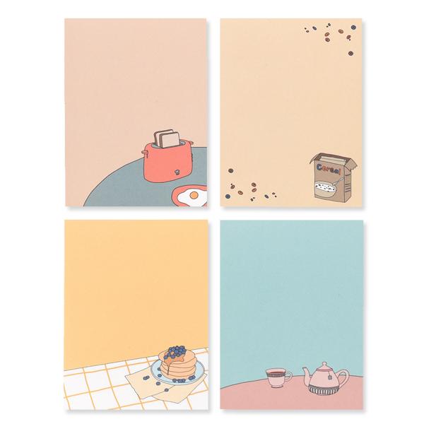 왈가닥스 메모리즈 B 메모지 4종 세트, Brunch, Cereal, Pancake, Tea Time, 1세트