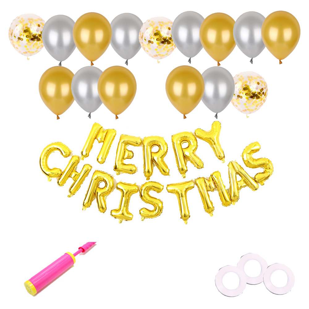 은박풍선세트 MERRY CHRISTMAS 골드 + 펄풍선 2종 x 6p + 컨페티풍선 3p + 글루닷 100p + 컬링리본 3p + 손펌푸 랜덤발송, 혼합색상, 1세트