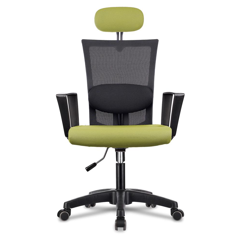 체어스코 네이처 블랙바디 라텍스 + 허리받침 책상의자, 옐로우그린