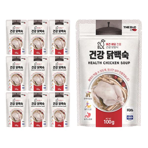 더디앤씨 건강한 간편 강아지간식 100g, 닭백숙, 10개