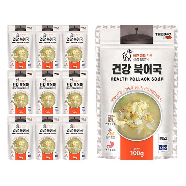 더디앤씨 건강 강아지간식 파우치 100g, 북어국, 10개