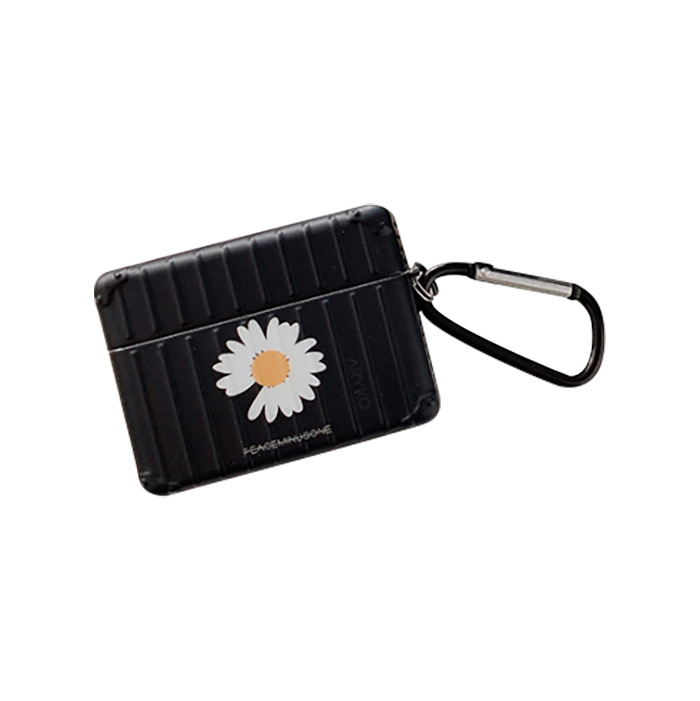 아리코 블랙 꽃무늬 포인트 에어팟 프로 케이스, 단일상품, 한개꽃
