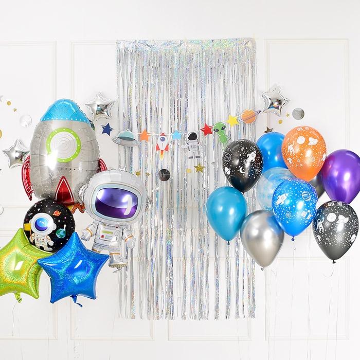 우주여행 어린이 생일파티 풍선 장식 5종 + 컬링 리본 + 스폰지닷 세트, 혼합색상, OUTERSPACE(랜덤발송), 1세트