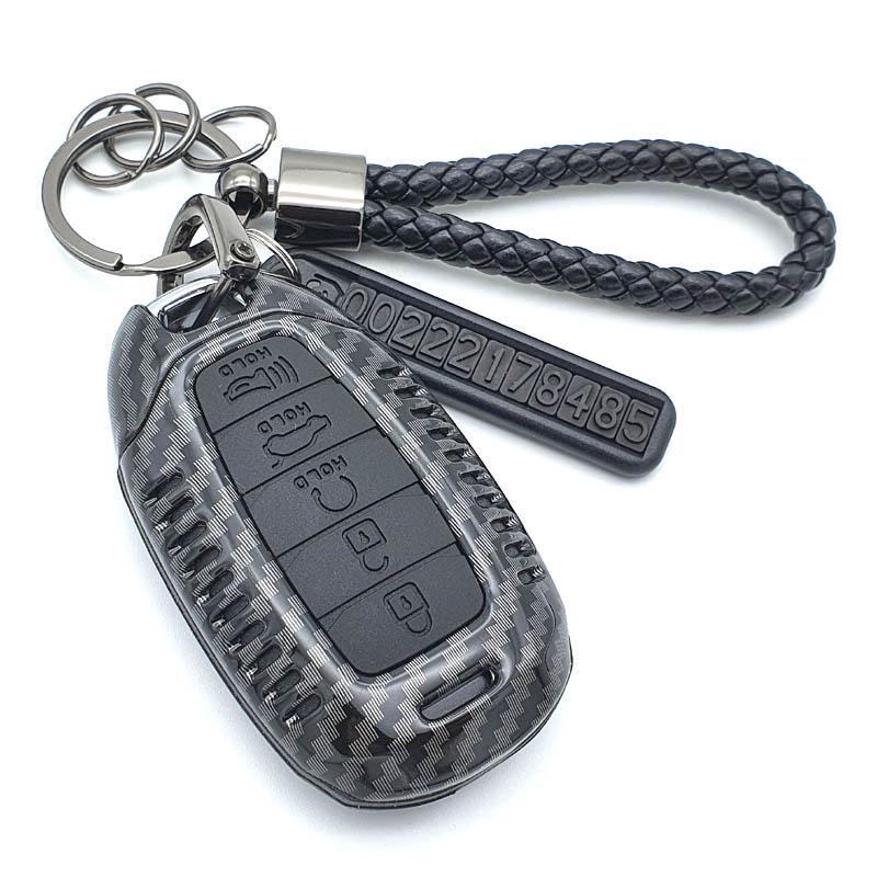 그린텍 현대 올뉴아반떼CN7 펠리세이드 산타페TM 원격시동 펠리세이드 5버튼 A타입 프리미엄 카본 키케이스 + 키링 + 전화번호안내판, 블랙