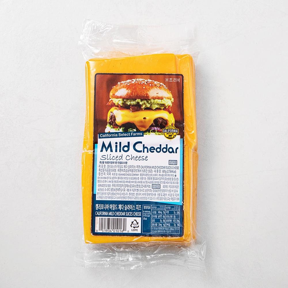 캘리포니아 마일드체다 슬라이스 치즈, 681g, 1개