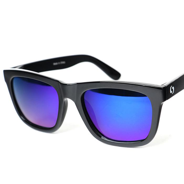 오클랜즈 스포츠 패션 보잉 편광 선글라스 K710, 블랙 프레임 + 블루 밀러 렌즈