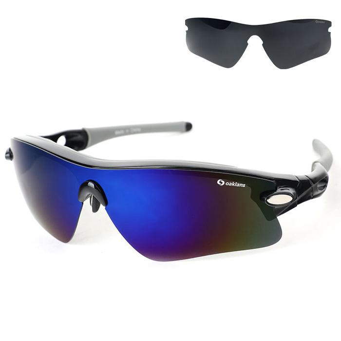오클랜즈 편광 스포츠 선글라스 + 렌즈 2종 세트 Q360, 프레임(블랙), 렌즈(블루 밀러, 블랙)