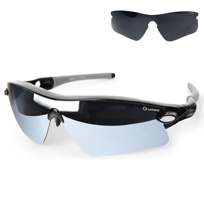 오클랜즈 편광 스포츠 선글라스 + 렌즈 2종 세트 Q360, 프레임(블랙), 렌즈(실버 밀러, 블랙)