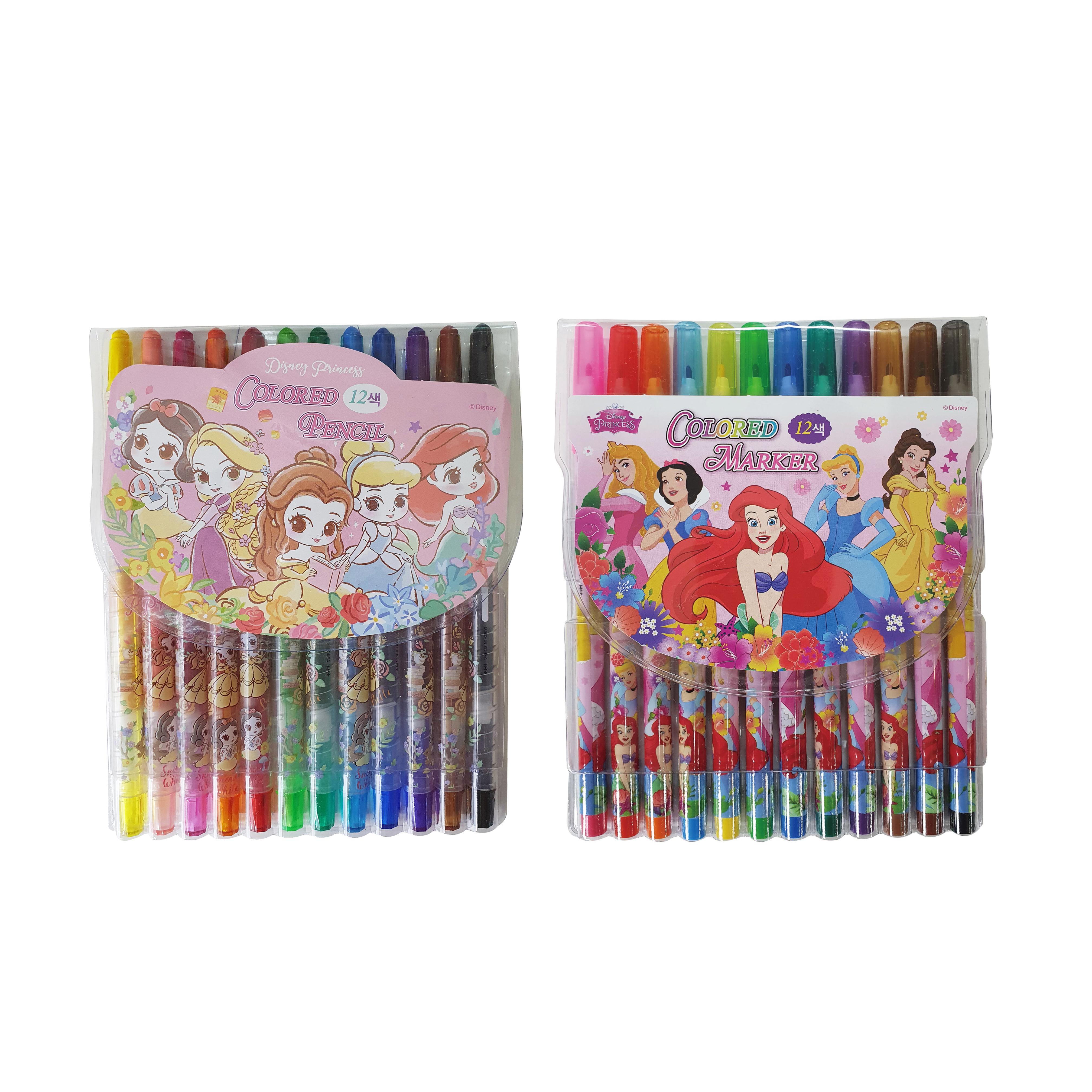 디즈니 프린세스 색연필 12색 + 사인펜 12색 문구 세트, 혼합색상, 1세트