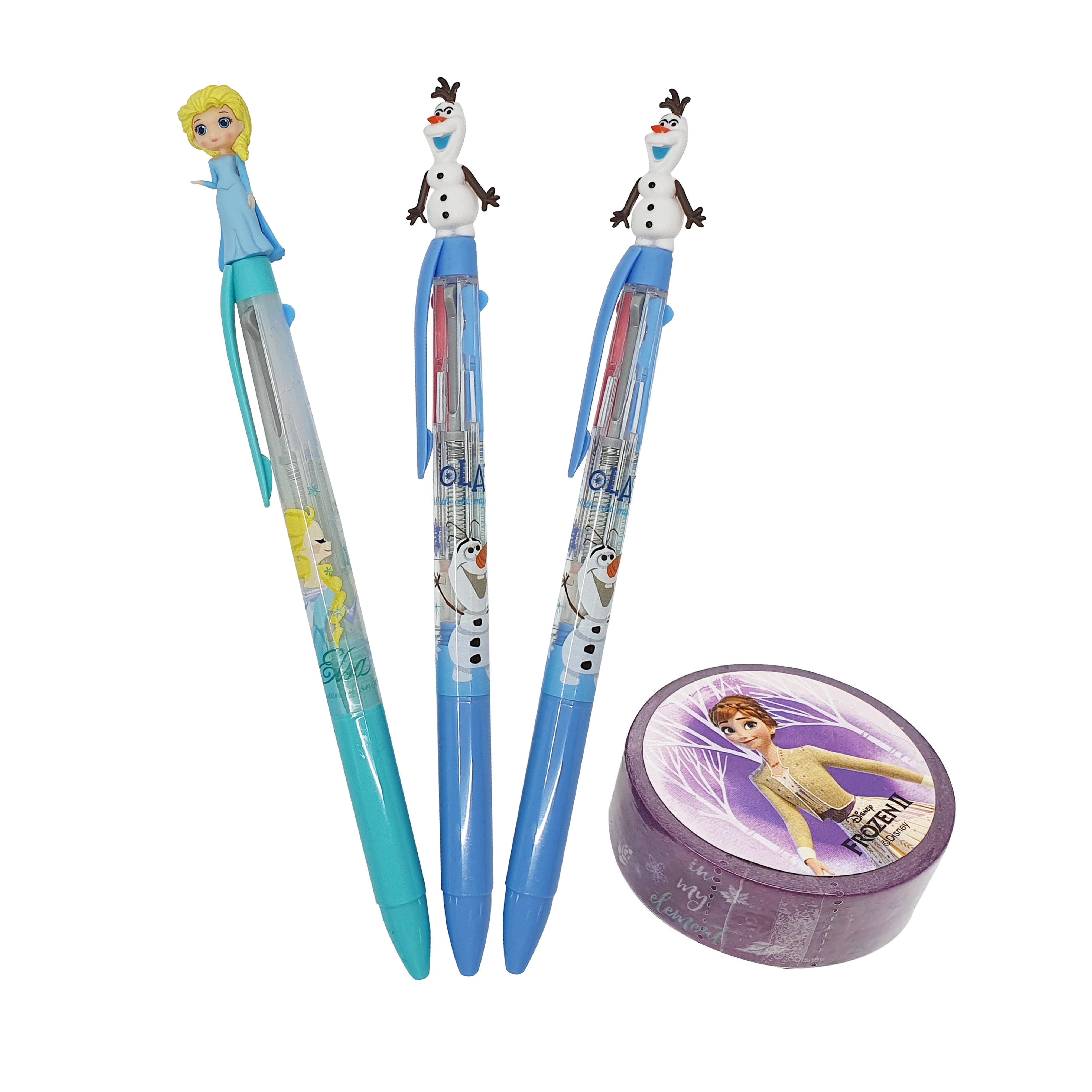 디즈니 겨울왕국 2 마스코트 3색 볼펜 0.5mm 엘사 + 올라프 2p + 마스킹테이프 1.5cm x 7m 세트 B타입, 혼합색상, 1세트