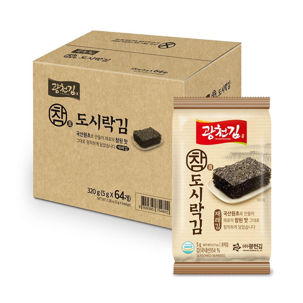 광천김 참 재래도시락 김, 5g, 64개