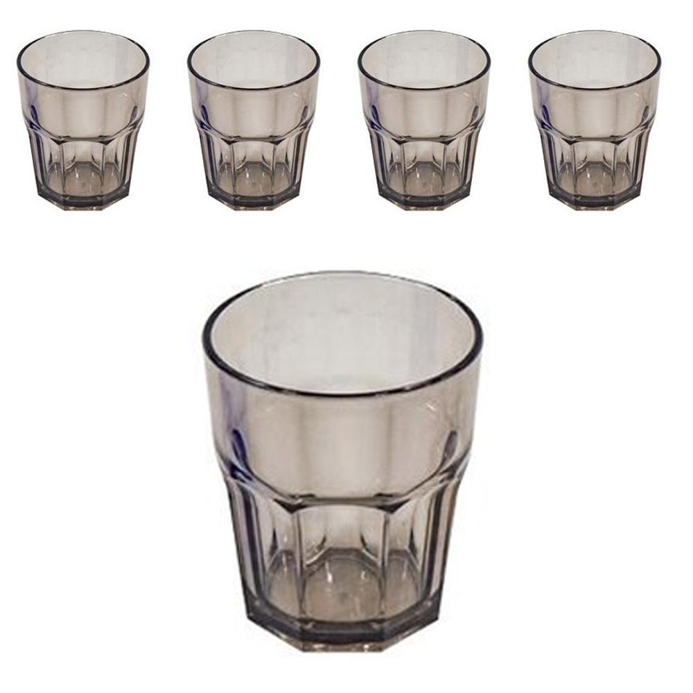 리빙메이트 플라스틱 팔각 물컵 270ml, 흑색, 5개