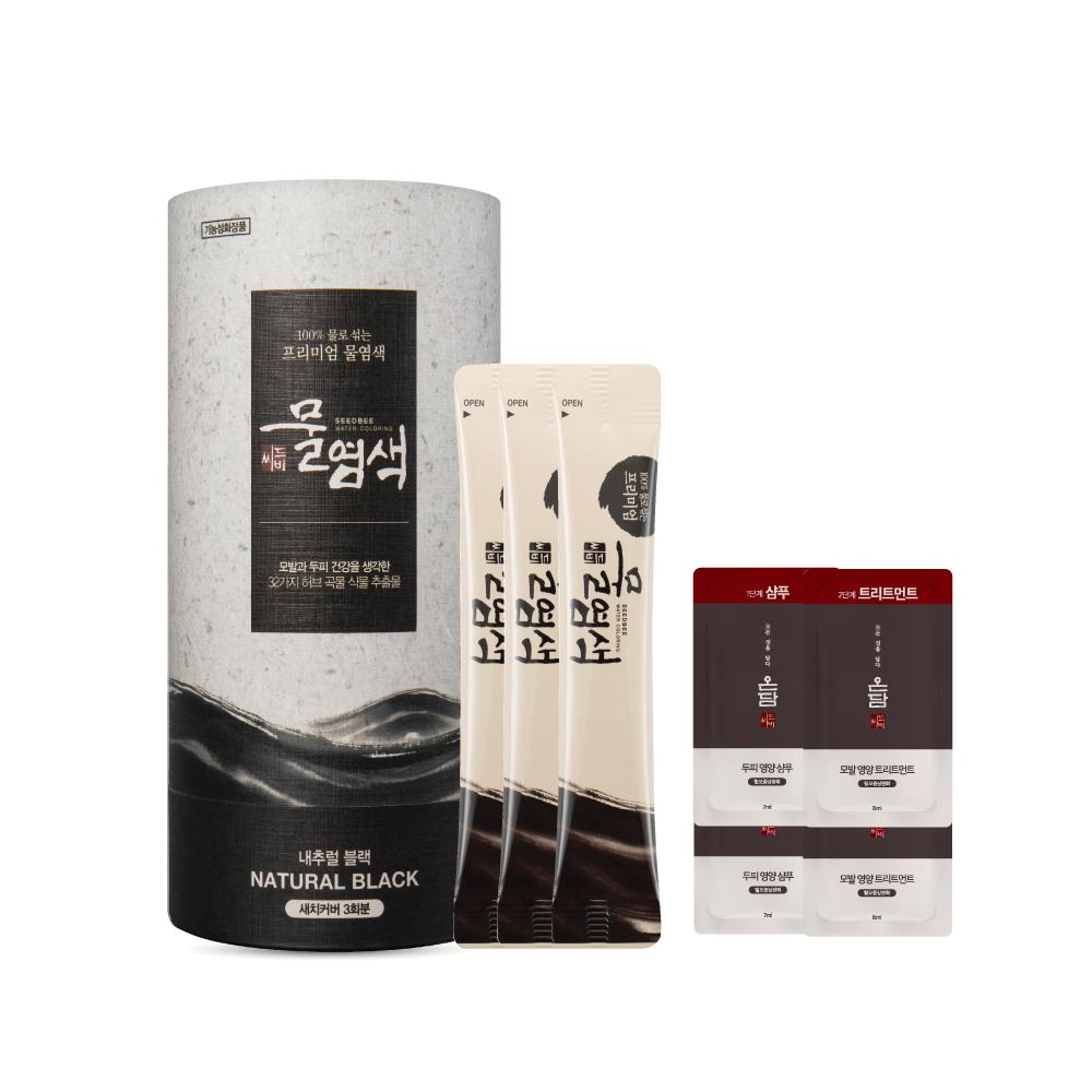 씨드비 새치 물염색제 + 온담 샴푸 7ml x 2p + 트리트먼트 8ml x 2p, 내추럴블랙, 1세트