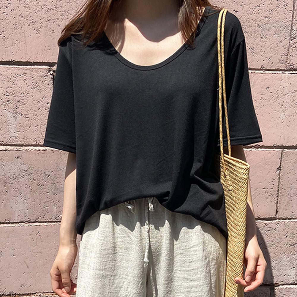제이에이치스타일 여성용 타고나 에비드 유넥 반팔 티셔츠