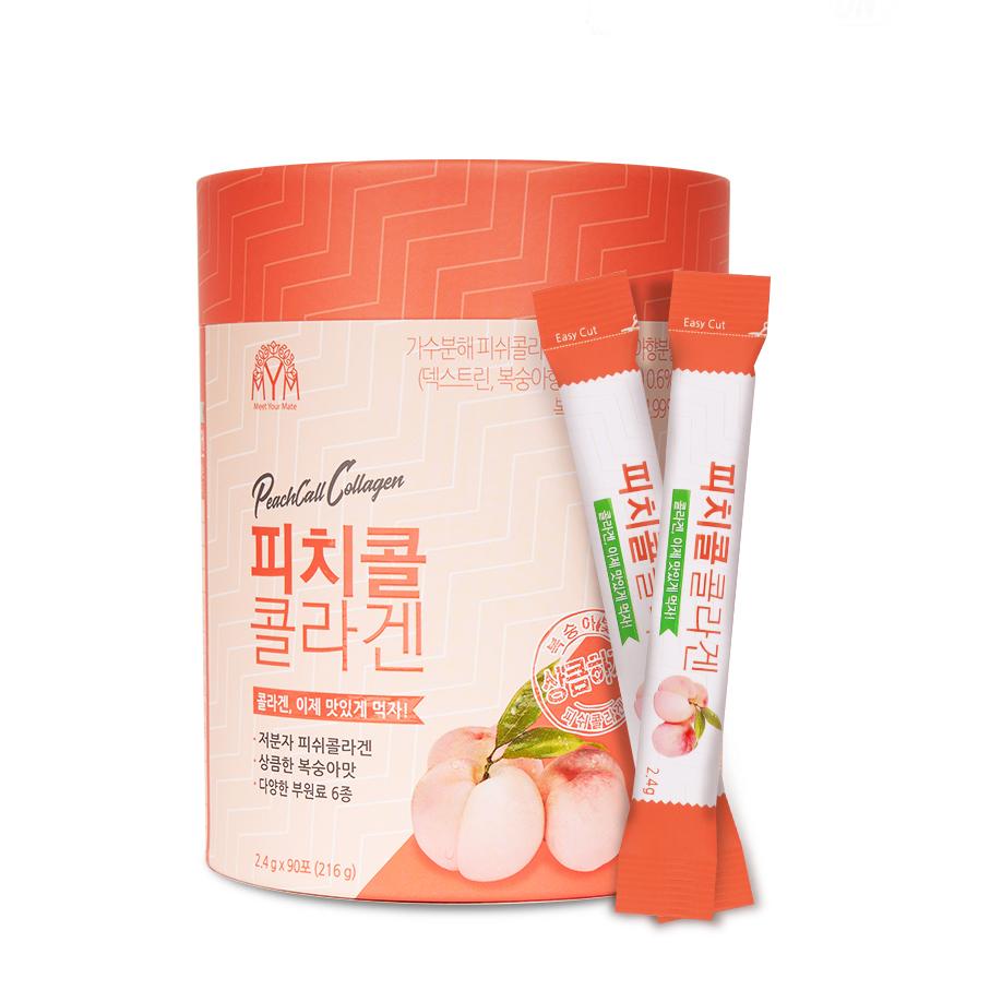 MYM 피치콜 콜라겐 복숭아맛 스틱, 2.4g, 90개