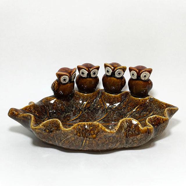 네마리 부엉이 접시 장식소품 86073, 혼합색상