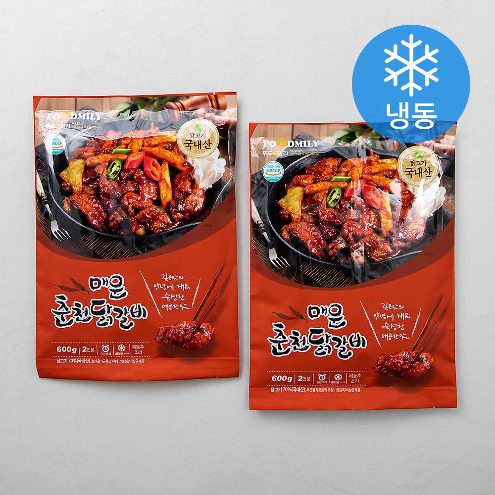 푸드밀리 매운춘천닭갈비 (냉동), 600g, 2개