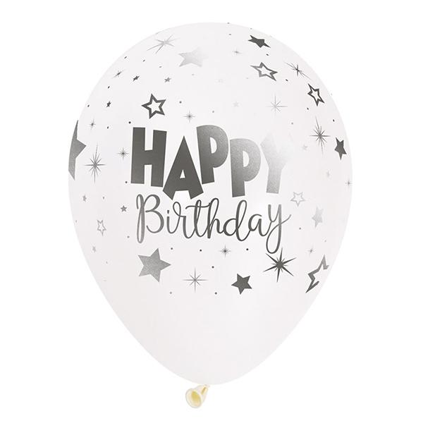 셈퍼텍스 생일판타지 메탈잉크 인쇄 풍선 30cm, 화이트, 50개